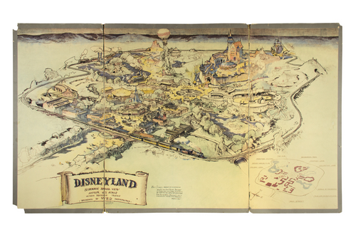 image relating to Disneyland Printable Map named Heritage of the Initial 1953 Disneyland Presentation Map
