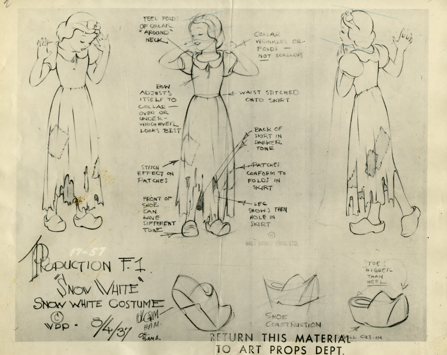 snow white and the seven dwarfs model sheet id