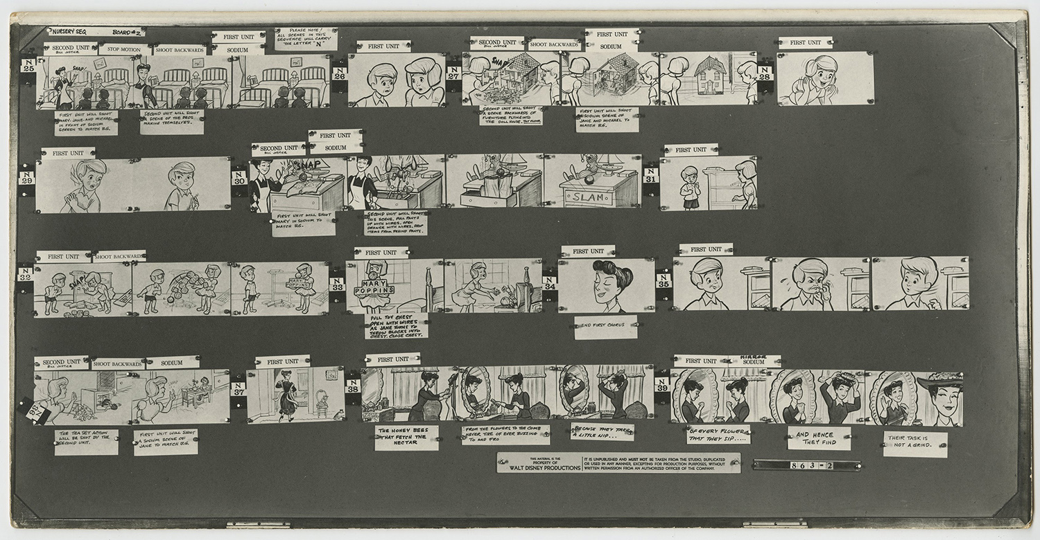 Mary Poppins Photostat Storyboards Id Febpoppins9516a