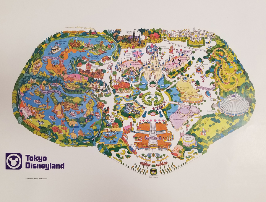 graphic about Printable Map of Disneyland referred to as 1980 Tokyo Disneyland Map Attempt Print - Identification