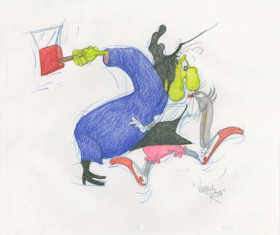 Broom Stick Bunny Mirror: 1990s Bugs Bunny & Witch Hazel Drawing By Virgil Ross