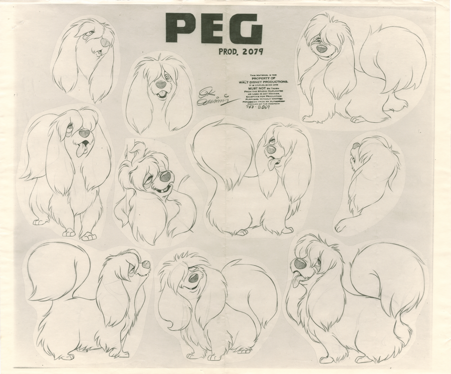 Lady And The Tramp Photostat Model Sheet Id Janmodel20199 Van Eaton Galleries