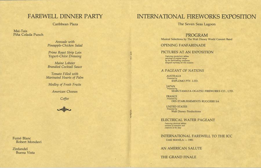 Wdw International Fireworks Exposition Invitation And Program Id