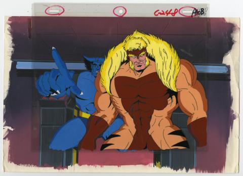 X-Men Beast and Sabretooth Matching Cel & Background - ID: septxmen8038 Marvel