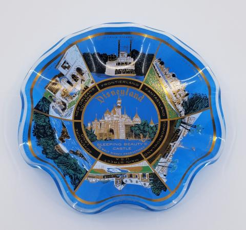 Disneyland Lands Glass Scalloped Bowl - ID: jandisneyland18350 Disneyana