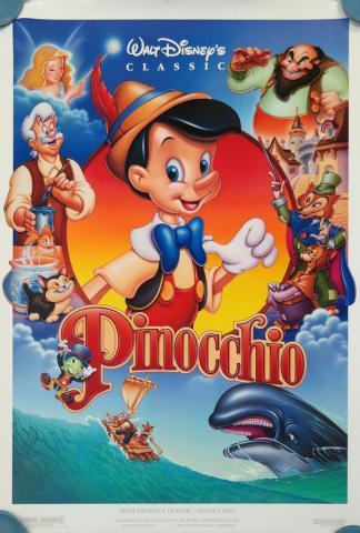 1992 Pinocchio Walt Disney Classic One Sheet Poster - ID: augpinocchio19156 Walt Disney