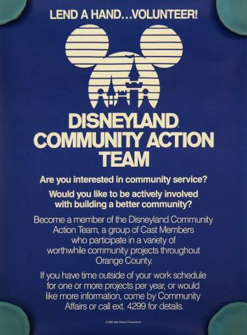 1985 Disneyland Community Action Team Poster - ID: octdisneyland19345 Disneyana