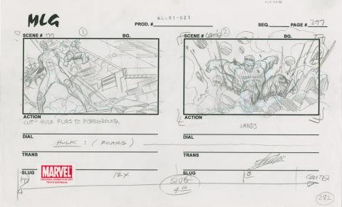 Ultimate Avengers Signed Storyboard Drawing - ID: MLG100180 Marvel