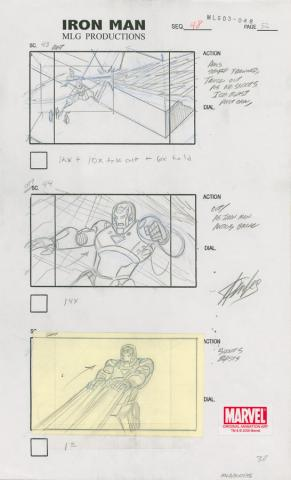 The Invincible Iron Man Signed Storyboard Drawing - ID: MLG300135 Marvel