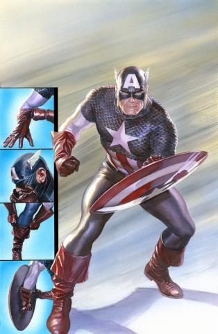 Capt America: Ready for Battle Signed Lithograph Print - ID: aprrossAR0081DL Alex Ross