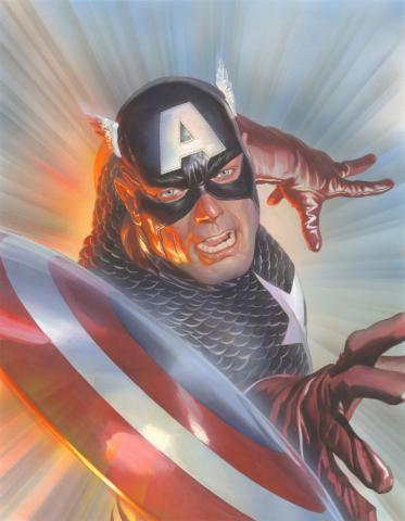 Marvelocity: Capt America Signed Giclee on Canvas Print - ID: aprrossAR0139C Alex Ross