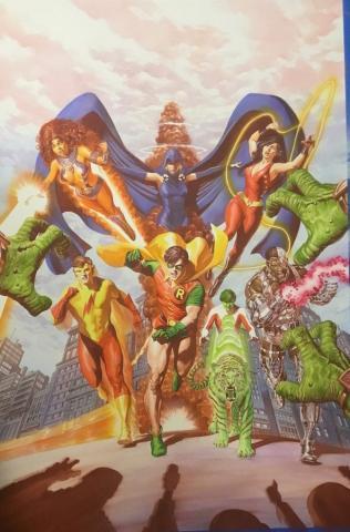 Teen Titans Tribute Signed Litho Print - ID: aprrossAR0223DL Alex Ross