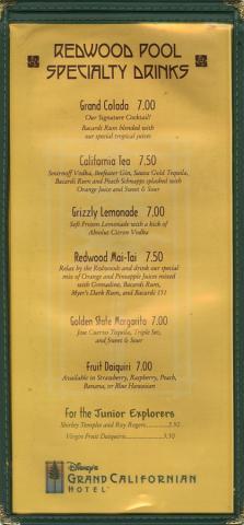 Redwood Pool and White Water Snacks Menu - ID: augdismenu20009 Disneyana