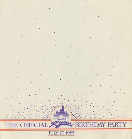 Disneyland Official 30th Year Birthday Party Program - ID: augdismenu20033 Disneyana