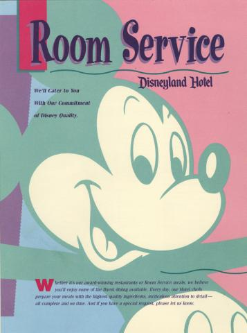 Disneyland Hotel Room Service Menu - ID: augdismenu20038 Disneyana