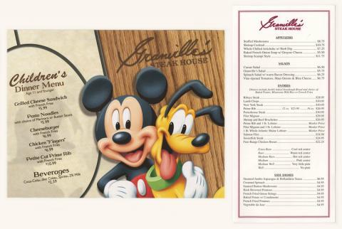 Granville's Steakhouse Menu and Children's Menu - ID: augdismenu20040 Disneyana