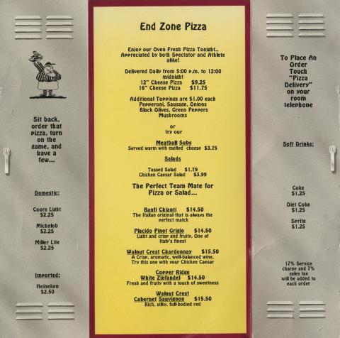 End Zone Pizza Menu - ID: augdismenu20059 Disneyana