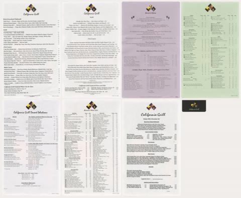 California Grill Set of Menus - ID: augdismenu20196 Disneyana