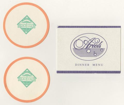 Ariel's Dinner Menu and Beach Club Resort Coasters - ID: augdismenu20372 Disneyana