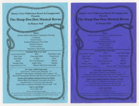 Disney Fort Wilderness Hoop-Dee-Doo Musical Revue Menus - ID: augdismenu20373 Disneyana
