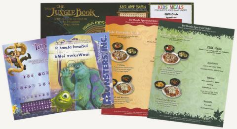 Collection of Disney Restaurant Kids Menus - ID: augdismenu20377 Disneyana