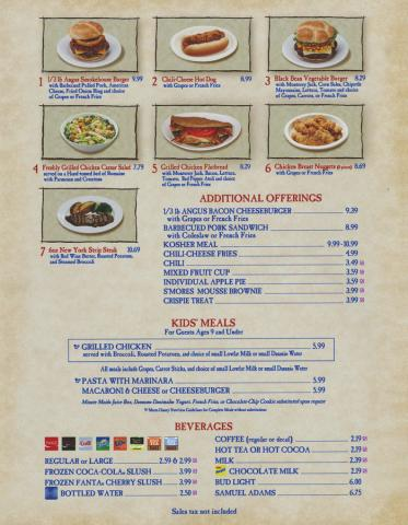 EPCOT World Showcase American Pavilion Liberty Inn Menu - ID: augdismenu20382 Disneyana