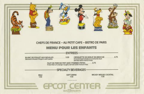 EPCOT Center French Restaurants KidsPlacemat Menu - ID: augdismenu20389 Disneyana
