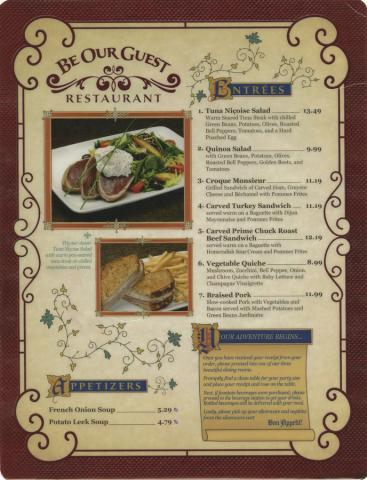 Be Our Guest Restaurant Menu - ID: augdismenu20420 Disneyana