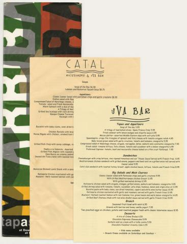Uva Bar, Catal Restaurant and Y Arriba Y Arriba Menus - ID: augdismenu20427 Disneyana