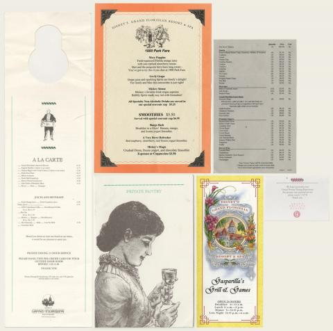 Collection of Grand Floridan Resort & Spa Menus - ID: augdismenu20428 Disneyana