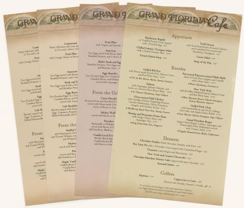 Collection of Grand Floridian Cafe Menus - ID: augdismenu20435 Disneyana