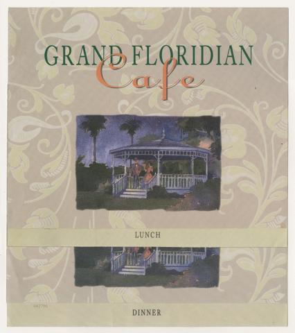Pair of Grand Floridian Cafe Menus - ID: augdismenu20437 Disneyana
