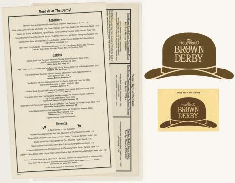 Collection of Brown Derby Menus - ID: augdismenu20438 Disneyana