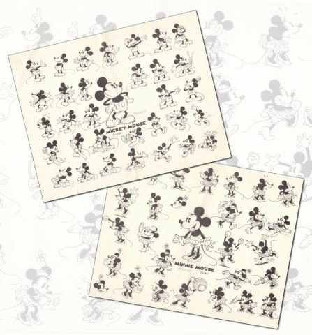 Mickey & Minnie Pair of Photostat Model Sheets - ID: dismodel19010 Walt Disney