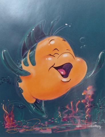 Disney Gallery Flounder Signed Limited Edition Print - ID: julydisneyana20312 Walt Disney