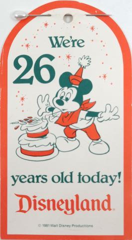 1981 Disneyland 26th Anniversary Cast Member Tag - ID: jundisneyana20063 Disneyana
