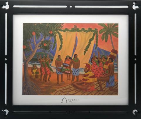 Mickey Mouse Frame with Aulani Disney Resort Luau Print - ID: jundisneyana20319 Disneyana