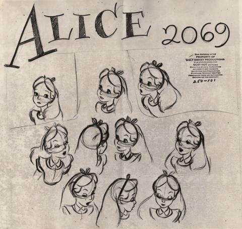 Alice in Wonderland Photostat Model Sheet - ID: junmodel20090 Walt Disney