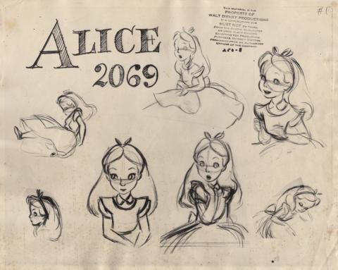 Alice in Wonderland Photostat Model Sheet - ID: junmodel20091 Walt Disney