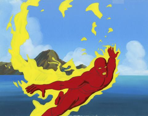 Fantastic Four Production Cel and Background - ID: octfantfour20320 Marvel
