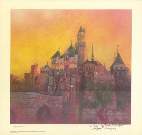 Disneyland at Dusk Signed Charles Boyer Print Disneyana