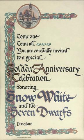 Disneyland Snow White Golden Anniversary Invitation - ID: septdisneyana20016 Disneyana