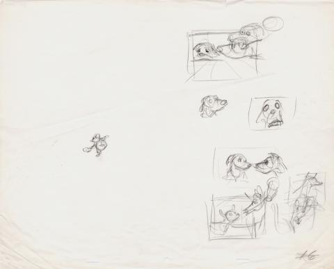 Fox and the Hound Story Development Sketches - ID: 1211fox001 Walt Disney