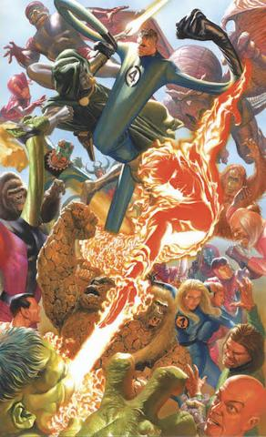 Marvelocity: Fantastic Four Signed Giclee on Canvas Print - ID: AR0316C Alex Ross