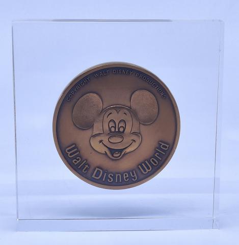 Walt Disney World Grand Opening Commemorative Medallion in Lucite Block - ID: aprdisneyland20339 Disneyana