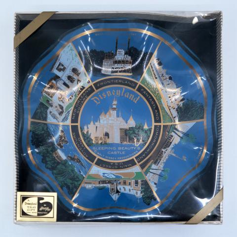 Disneyland Lands Glass Scalloped Plate - ID: aprdisneyland21313 Disneyana