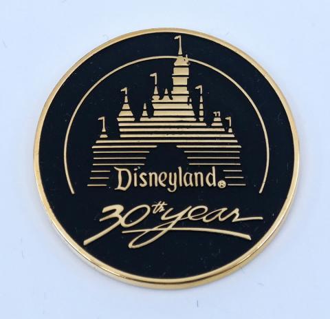 Disneyland 30th Anniversary Black & Gold Medallion - ID: aprdisneyland21363 Disneyana