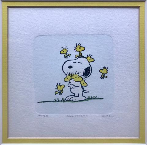 Snoopy & Woodstock Peanuts Etching - ID: aprsnoopy21201 Bill Melendez