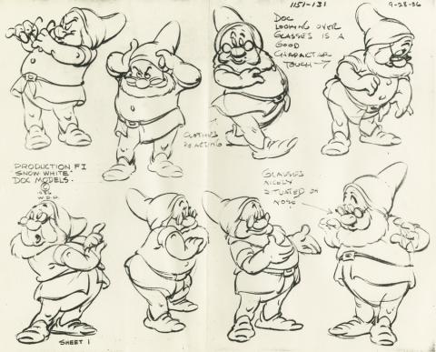 Snow White and the Seven Dwarfs Photostat Model Sheet - ID: aprsnowwhite21121 Walt Disney