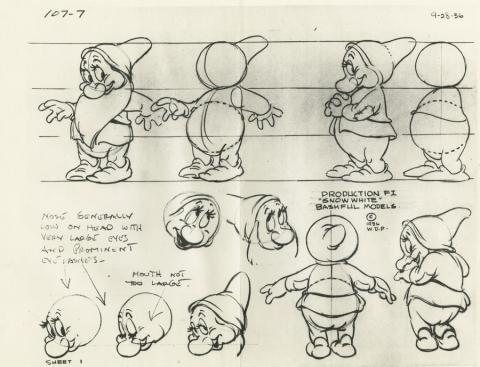 Snow White and the Seven Dwarfs Photostat Model Sheet - ID: aprsnowwhite21122 Walt Disney